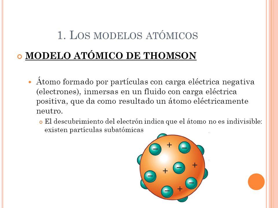 1. Los modelos atómicos MODELO ATÓMICO DE THOMSON