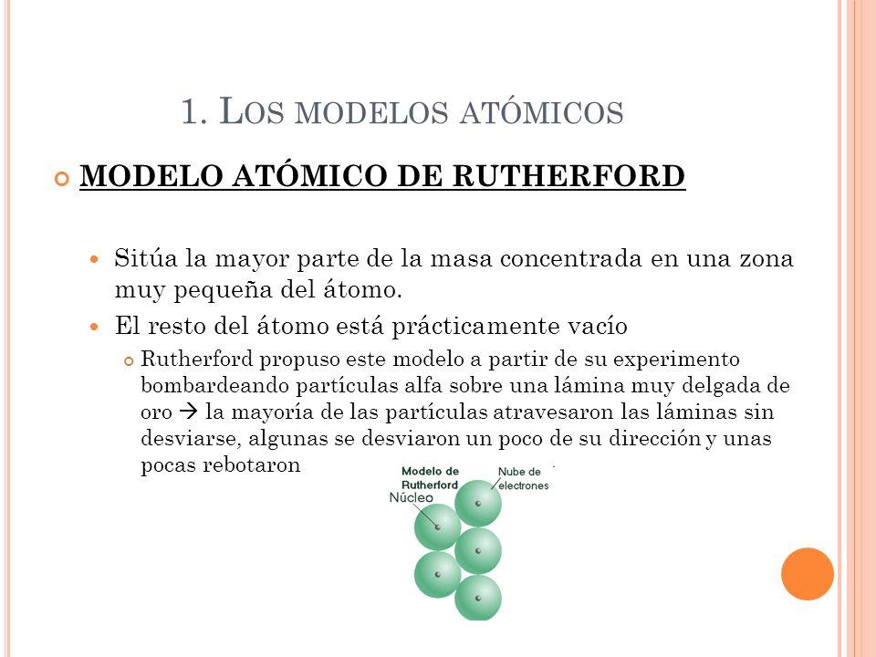 1. Los modelos atómicos MODELO ATÓMICO DE RUTHERFORD