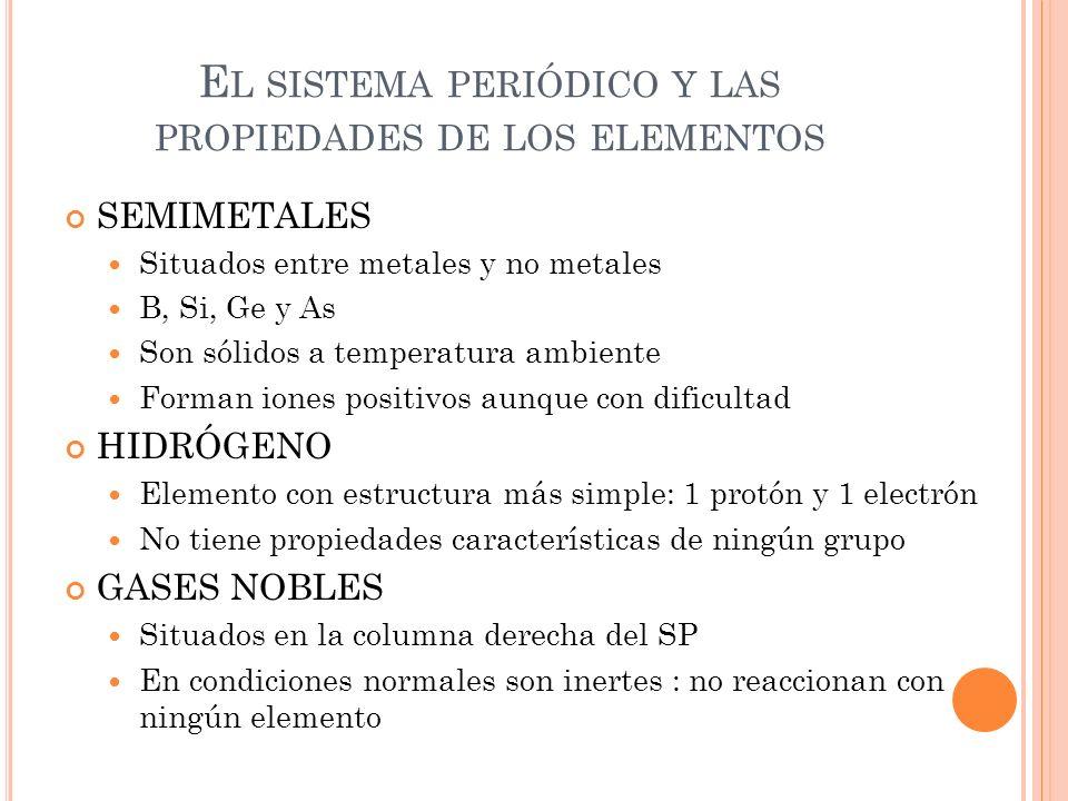 El sistema periódico y las propiedades de los elementos