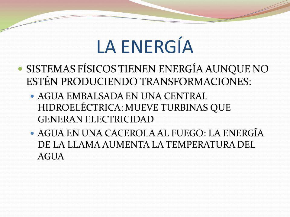 LA ENERGÍA SISTEMAS FÍSICOS TIENEN ENERGÍA AUNQUE NO ESTÉN PRODUCIENDO TRANSFORMACIONES:
