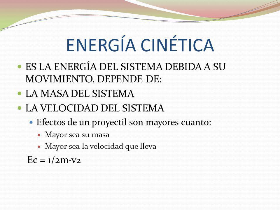 ENERGÍA CINÉTICAES LA ENERGÍA DEL SISTEMA DEBIDA A SU MOVIMIENTO. DEPENDE DE: LA MASA DEL SISTEMA. LA VELOCIDAD DEL SISTEMA.