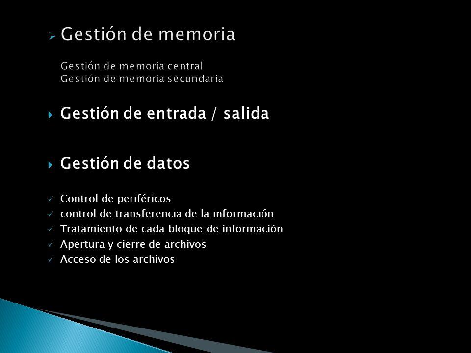 Gestión de memoria Gestión de memoria central Gestión de memoria secundaria