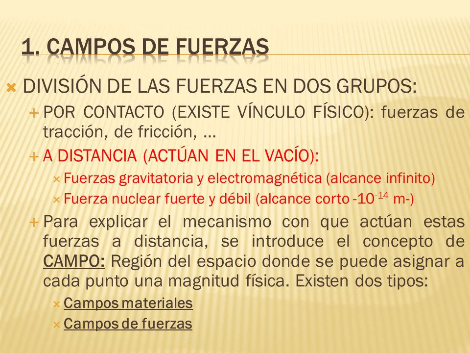 1. CAMPOS DE FUERZAS DIVISIÓN DE LAS FUERZAS EN DOS GRUPOS: