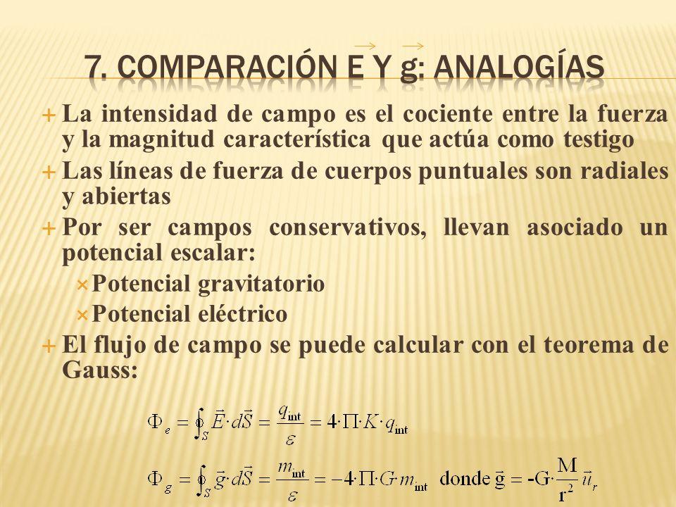 7. Comparación e y g: ANALOGÍAS