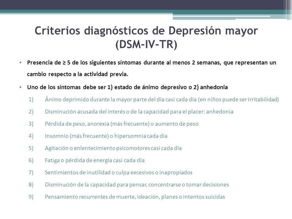Criterios diagnósticos de Depresión mayor (DSM-IV-TR)