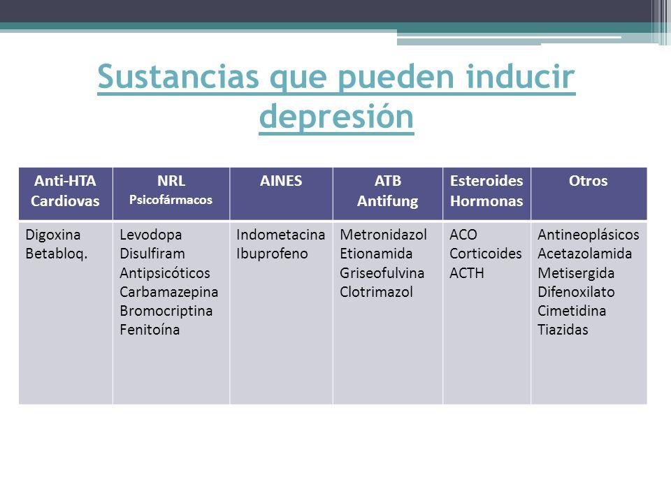 Sustancias que pueden inducir depresión
