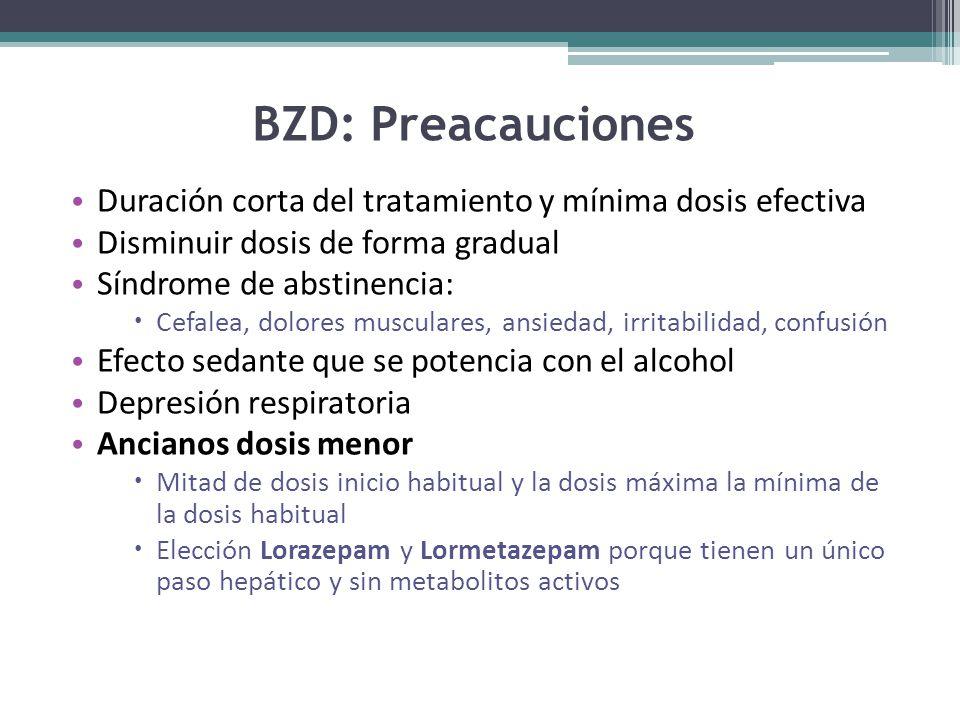BZD: Preacauciones Duración corta del tratamiento y mínima dosis efectiva. Disminuir dosis de forma gradual.