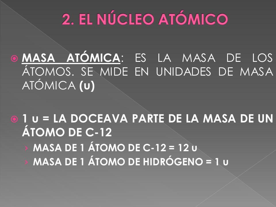 2. EL NÚCLEO ATÓMICO MASA ATÓMICA: ES LA MASA DE LOS ÁTOMOS. SE MIDE EN UNIDADES DE MASA ATÓMICA (u)