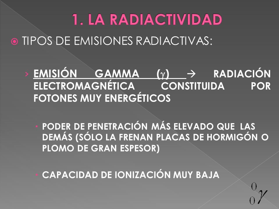1. LA RADIACTIVIDAD TIPOS DE EMISIONES RADIACTIVAS: