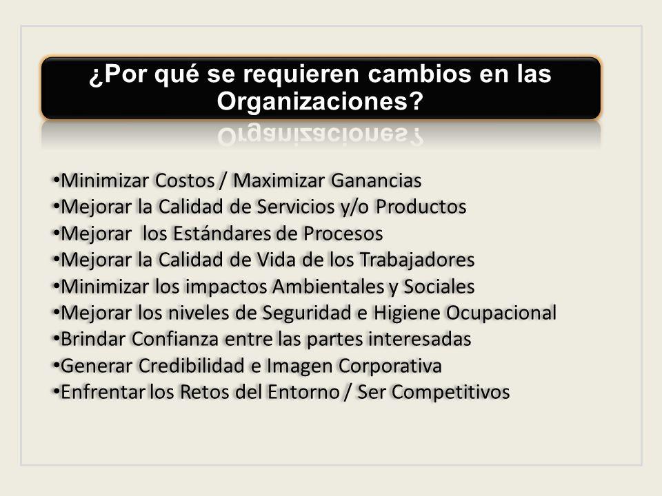 ¿Por qué se requieren cambios en las Organizaciones