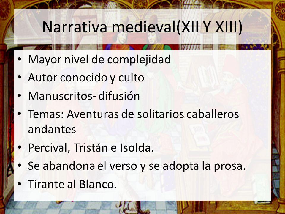 Narrativa medieval(XII Y XIII)