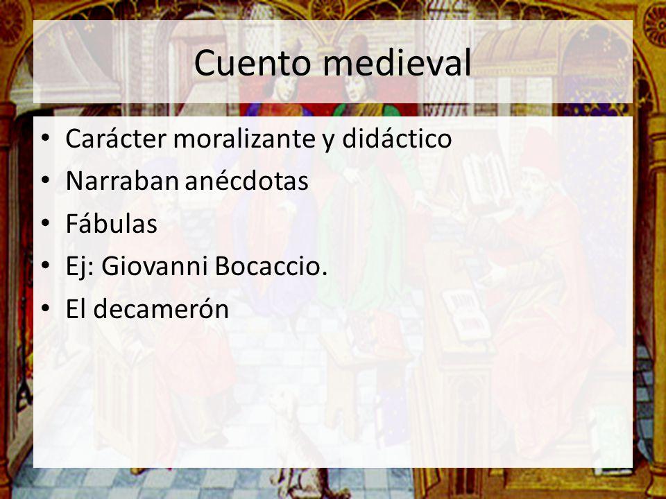 Cuento medieval Carácter moralizante y didáctico Narraban anécdotas