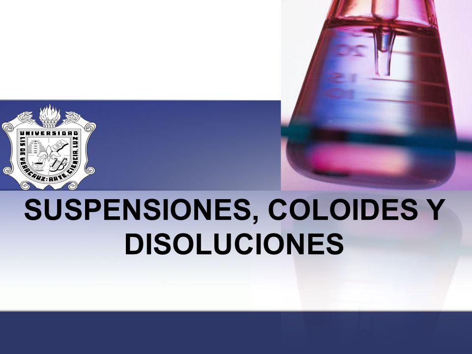 SUSPENSIONES, COLOIDES Y DISOLUCIONES