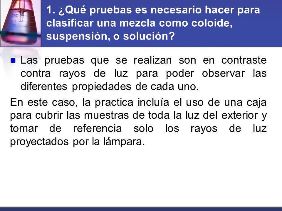 1. ¿Qué pruebas es necesario hacer para clasificar una mezcla como coloide, suspensión, o solución