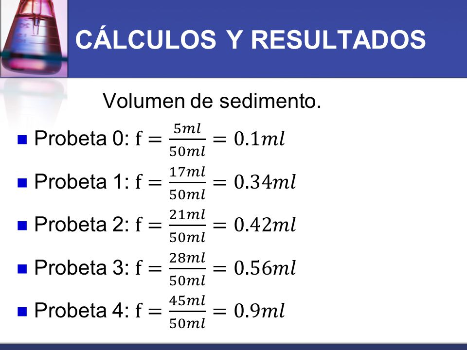 CÁLCULOS Y RESULTADOS Volumen de sedimento.