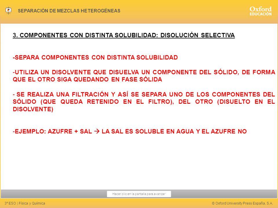 3. COMPONENTES CON DISTINTA SOLUBILIDAD: DISOLUCIÓN SELECTIVA