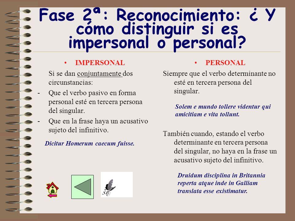 Fase 2ª: Reconocimiento: ¿ Y cómo distinguir si es impersonal o personal