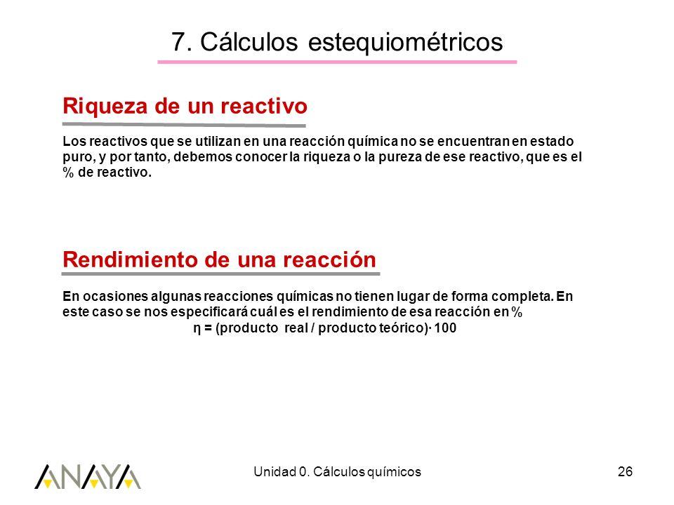 7. Cálculos estequiométricos