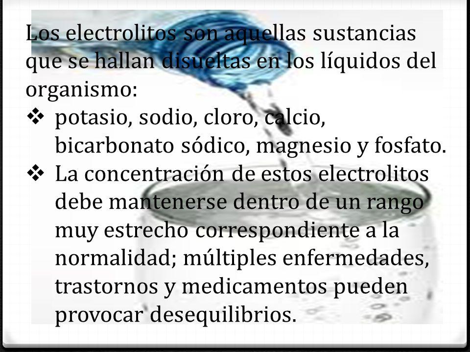 Los electrolitos son aquellas sustancias que se hallan disueltas en los líquidos del organismo: