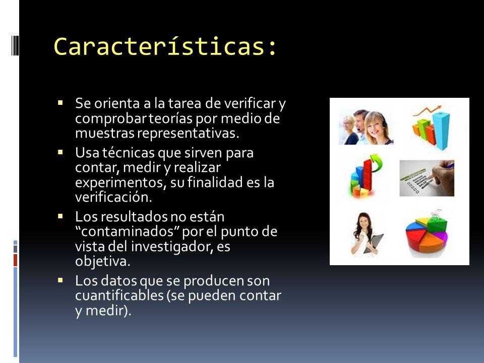 Características: Se orienta a la tarea de verificar y comprobar teorías por medio de muestras representativas.