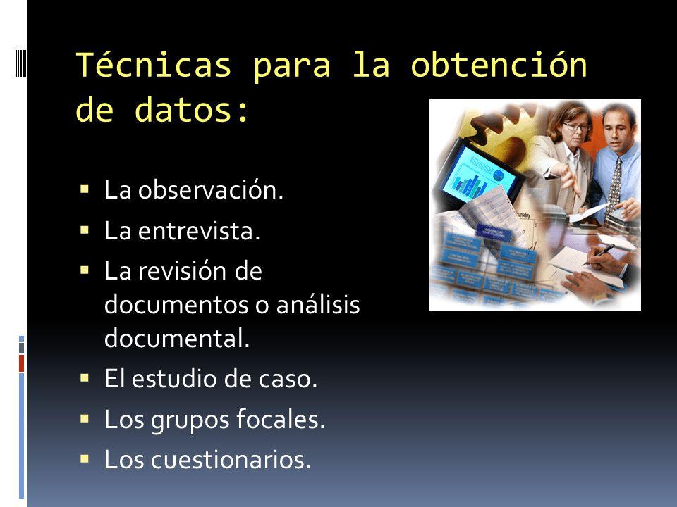 Técnicas para la obtención de datos: