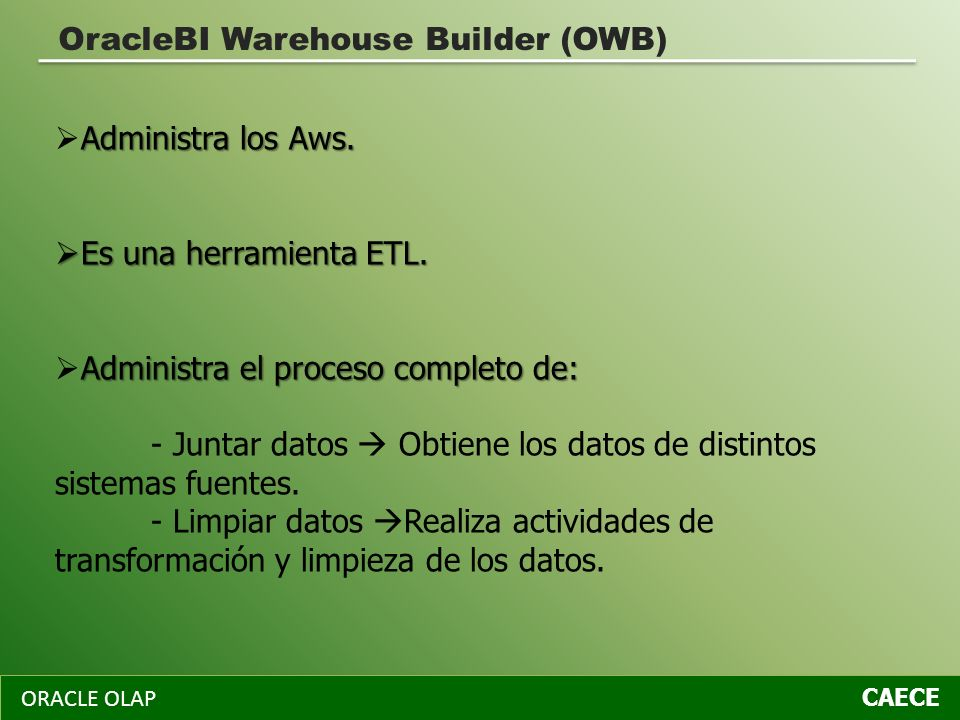 OracleBI Warehouse Builder (OWB)