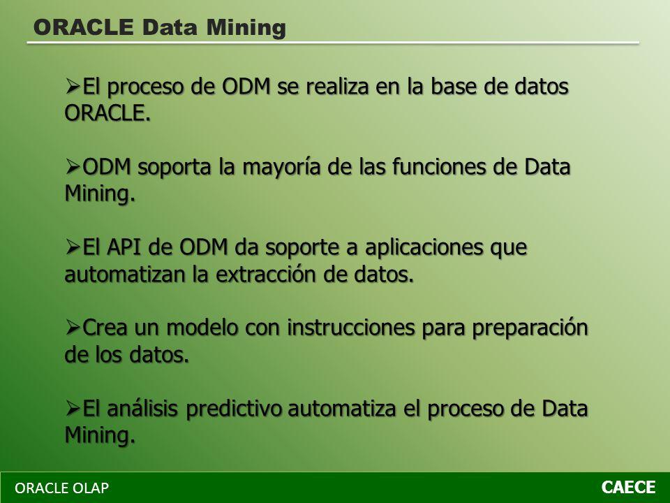 El proceso de ODM se realiza en la base de datos ORACLE.
