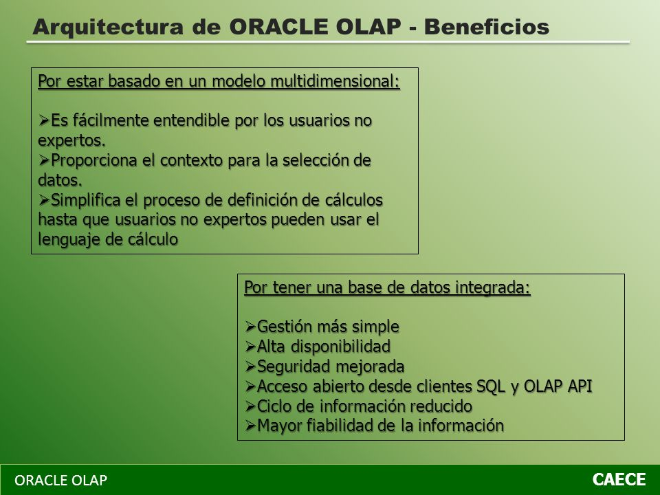 Arquitectura de ORACLE OLAP - Beneficios
