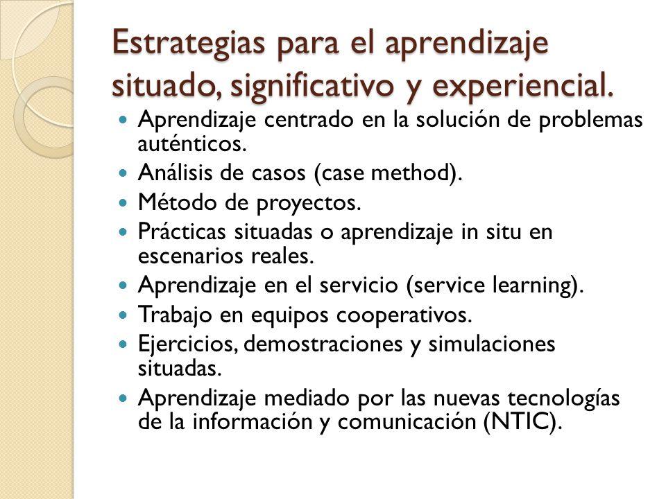 Estrategias para el aprendizaje situado, significativo y experiencial.
