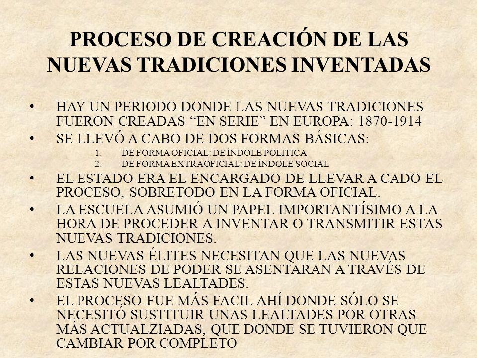 PROCESO DE CREACIÓN DE LAS NUEVAS TRADICIONES INVENTADAS