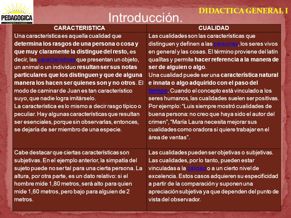 Introducción. DIDACTICA GENERAL I CARACTERISTICA CUALIDAD