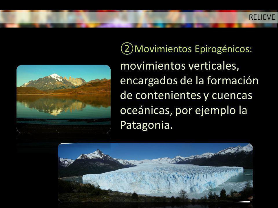 RELIEVE Movimientos Epirogénicos: movimientos verticales, encargados de la formación de contenientes y cuencas oceánicas, por ejemplo la Patagonia.