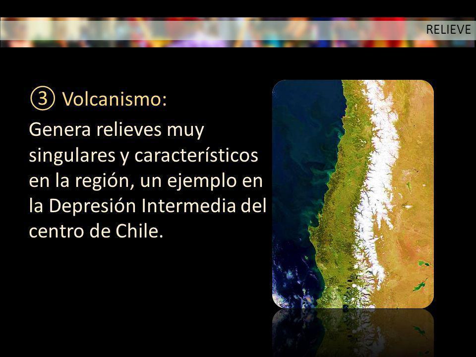 RELIEVE Volcanismo: Genera relieves muy singulares y característicos en la región, un ejemplo en la Depresión Intermedia del centro de Chile.