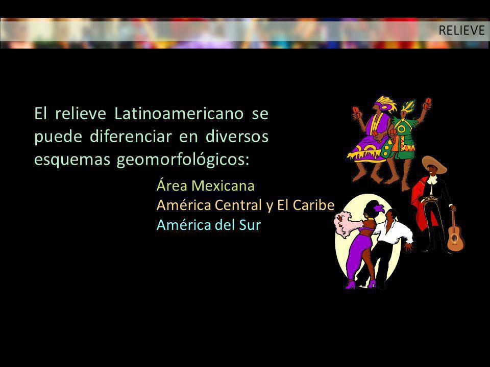 RELIEVE El relieve Latinoamericano se puede diferenciar en diversos esquemas geomorfológicos: Área Mexicana.
