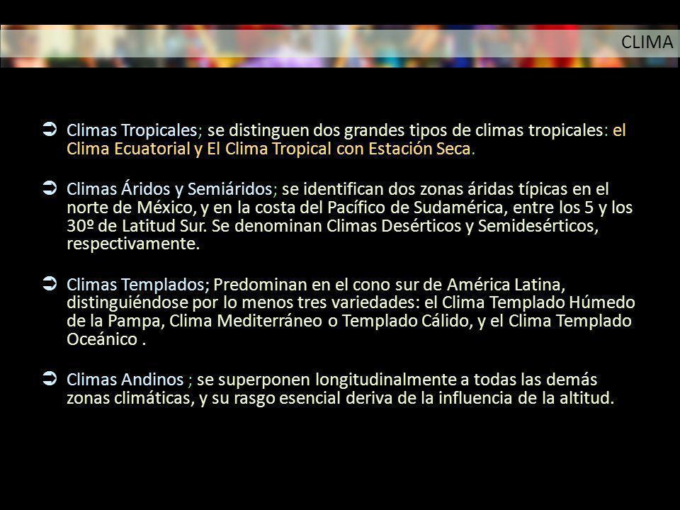 CLIMA Climas Tropicales; se distinguen dos grandes tipos de climas tropicales: el Clima Ecuatorial y El Clima Tropical con Estación Seca.