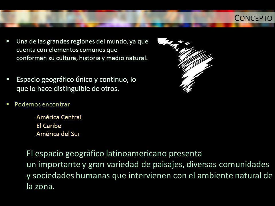 CONCEPTO El espacio geográfico latinoamericano presenta