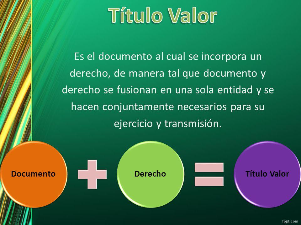 Título Valor Es el documento al cual se incorpora un
