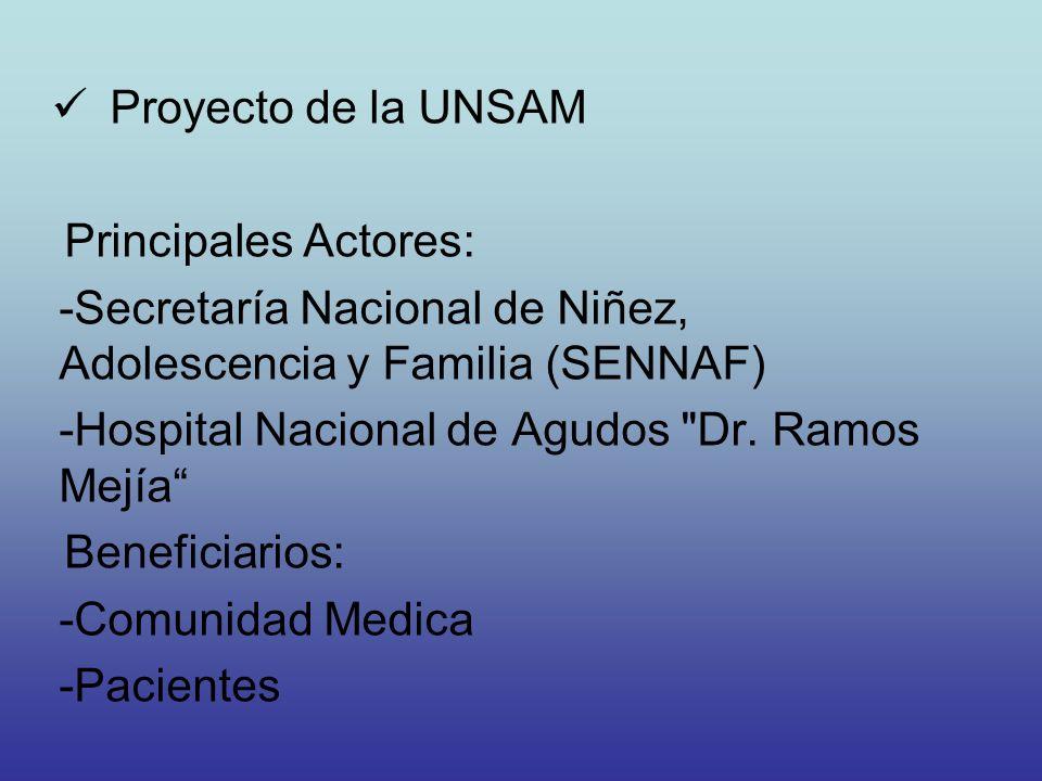 Proyecto de la UNSAM Principales Actores: Secretaría Nacional de Niñez, Adolescencia y Familia (SENNAF)