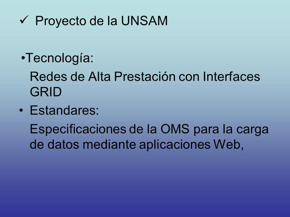 Proyecto de la UNSAM Tecnología: Redes de Alta Prestación con Interfaces GRID. Estandares: