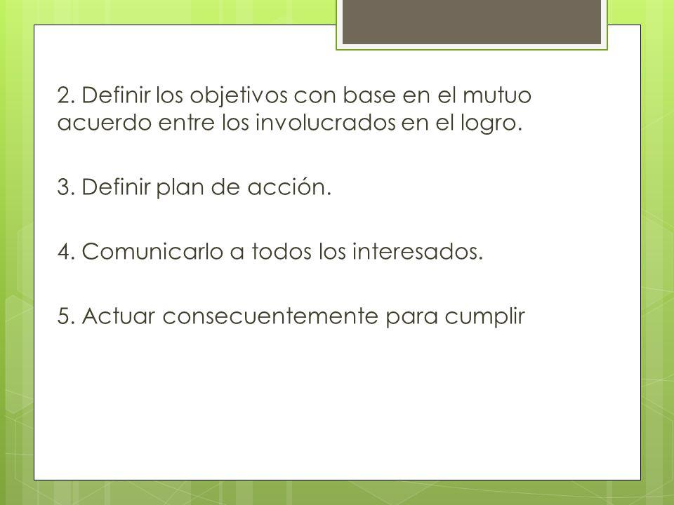2. Definir los objetivos con base en el mutuo acuerdo entre los involucrados en el logro.