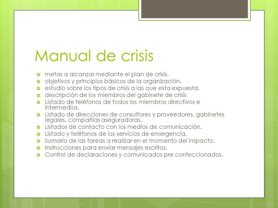 Manual de crisis metas a alcanzar mediante el plan de crisis.