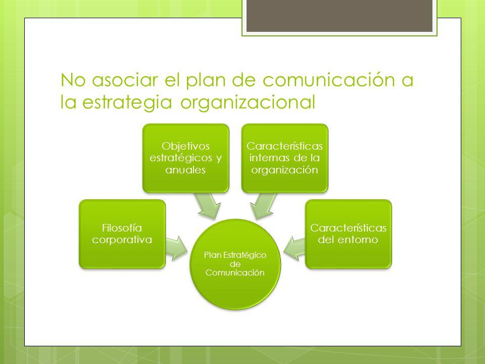 No asociar el plan de comunicación a la estrategia organizacional