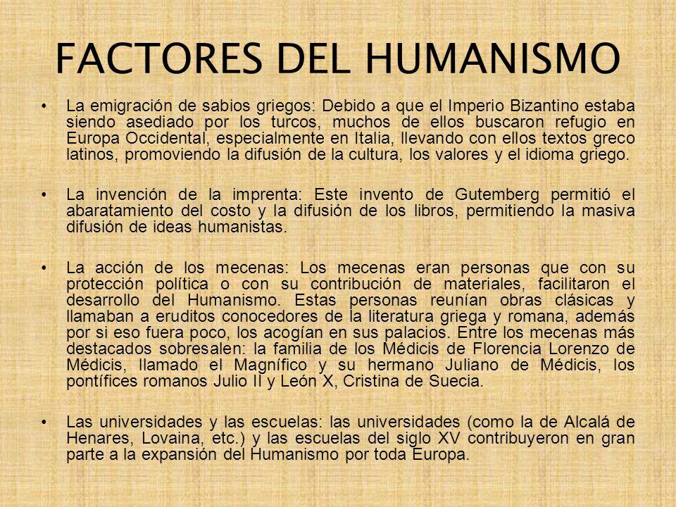 FACTORES DEL HUMANISMO