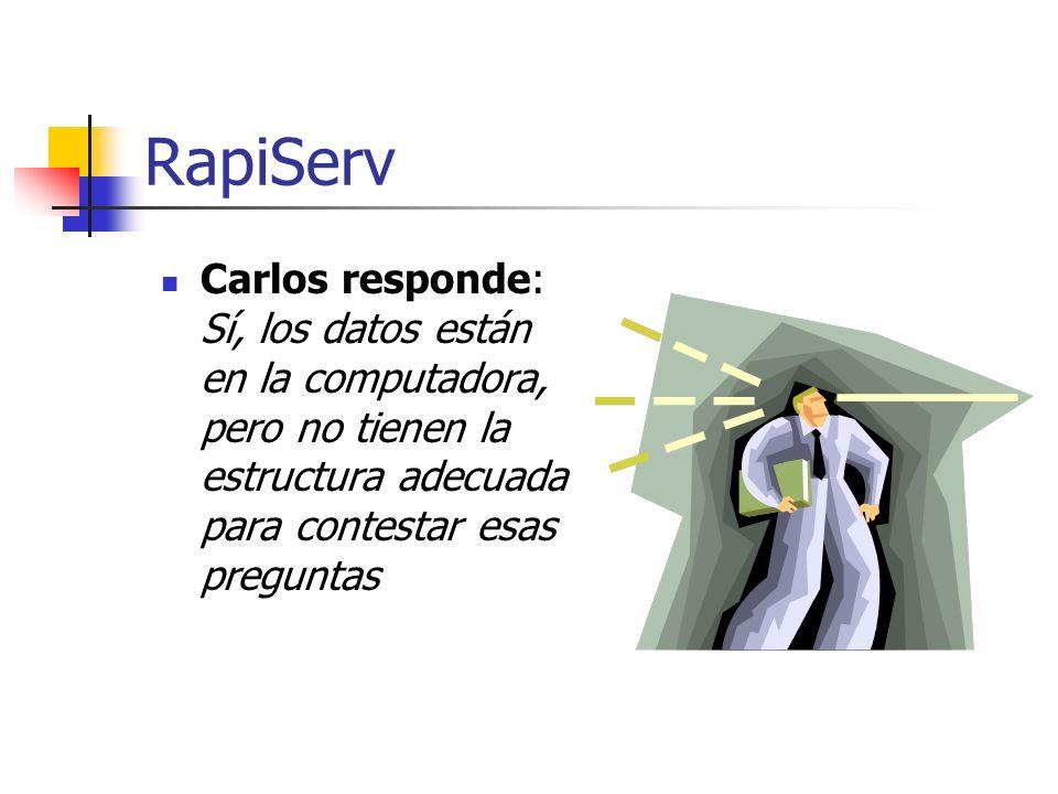 RapiServCarlos responde: Sí, los datos están en la computadora, pero no tienen la estructura adecuada para contestar esas preguntas.