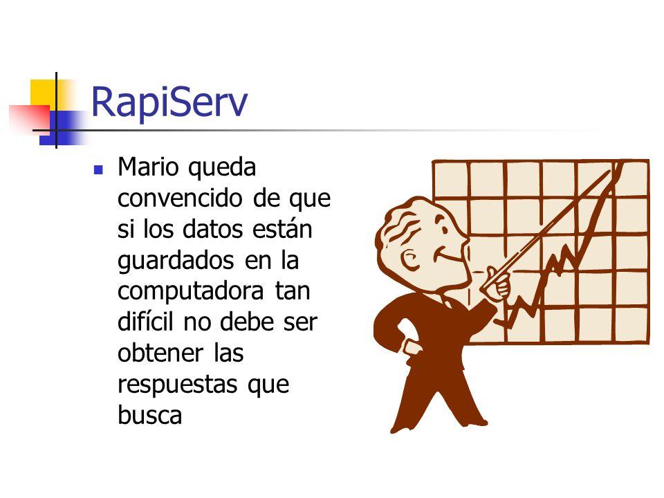 RapiServ Mario queda convencido de que si los datos están guardados en la computadora tan difícil no debe ser obtener las respuestas que busca.