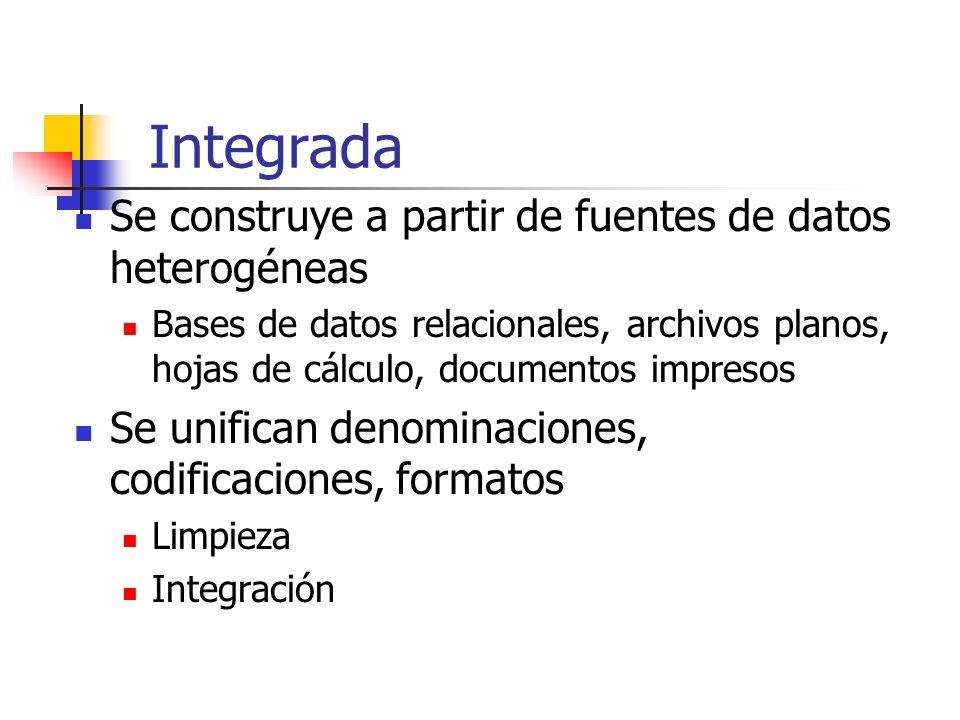 Integrada Se construye a partir de fuentes de datos heterogéneas