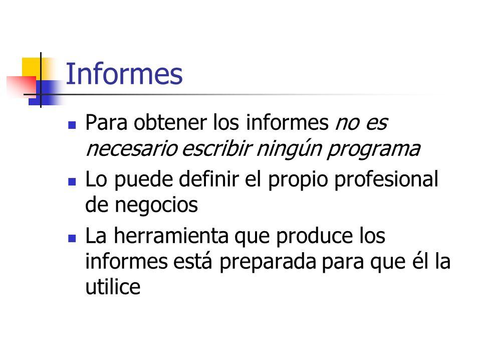 Informes Para obtener los informes no es necesario escribir ningún programa. Lo puede definir el propio profesional de negocios.