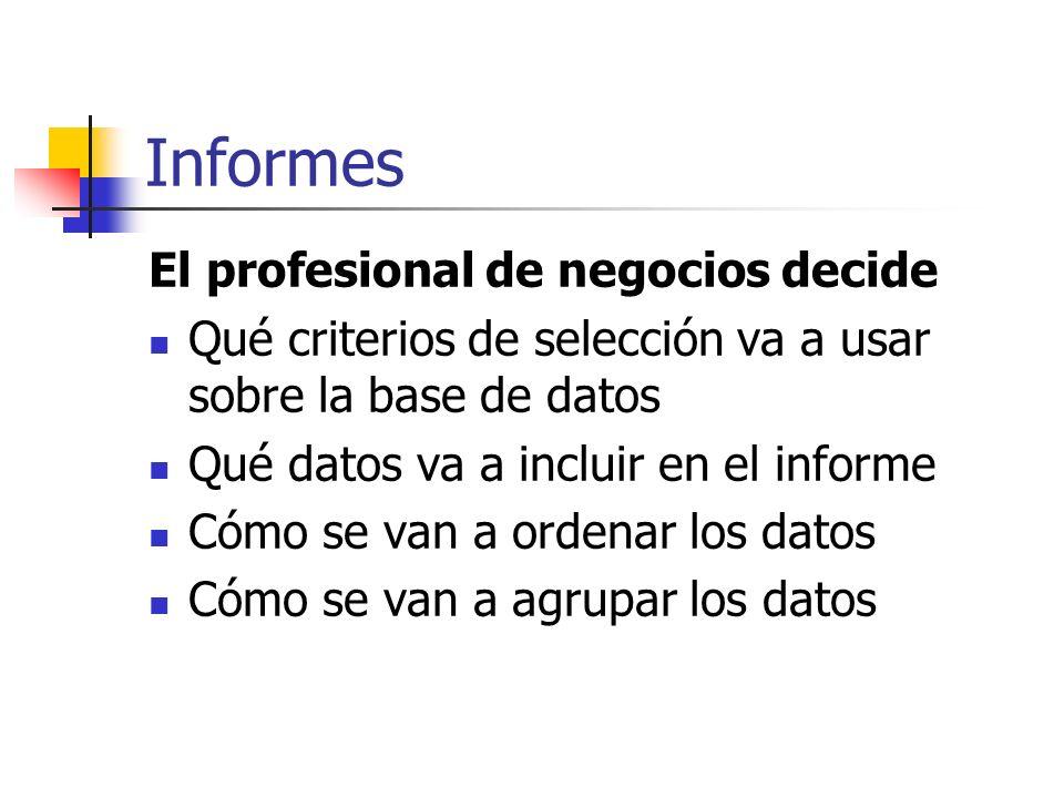 Informes El profesional de negocios decide