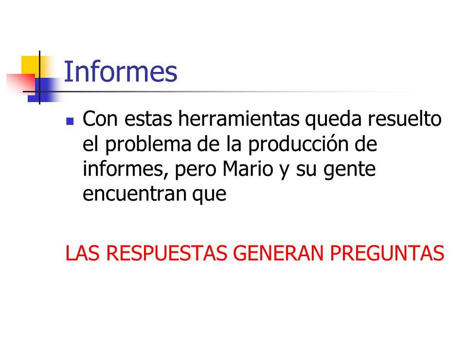 Informes Con estas herramientas queda resuelto el problema de la producción de informes, pero Mario y su gente encuentran que.