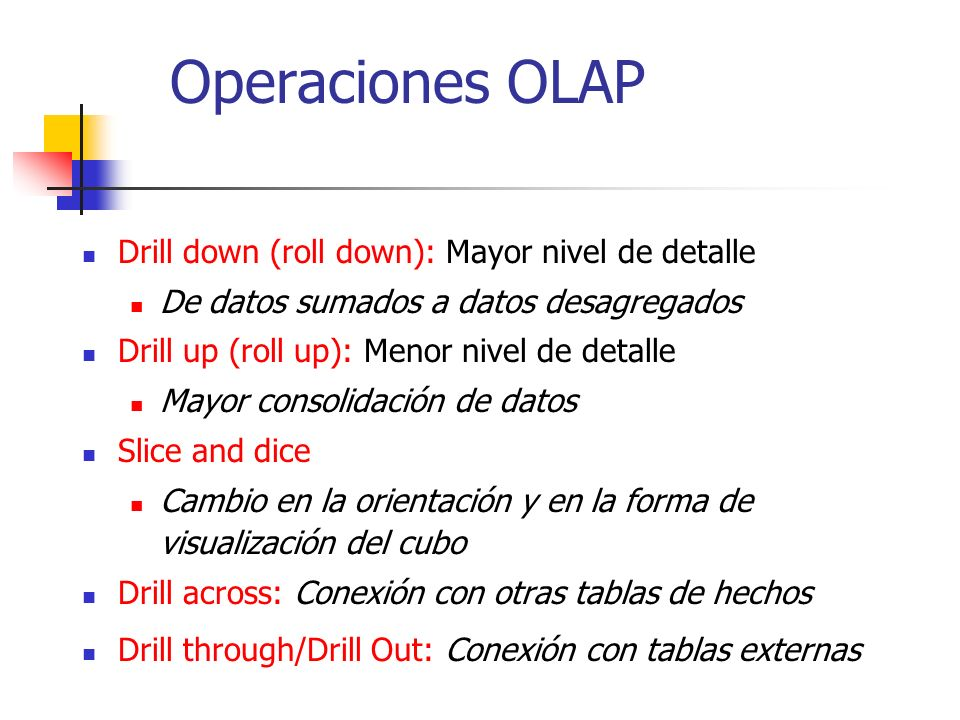 Operaciones OLAP Drill down (roll down): Mayor nivel de detalle